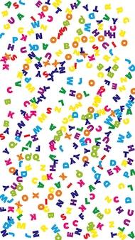 Chute des lettres de la langue anglaise. mots volants colorés de l'alphabet latin. concept d'étude des langues étrangères. bannière de retour à l'école favorable sur fond blanc.