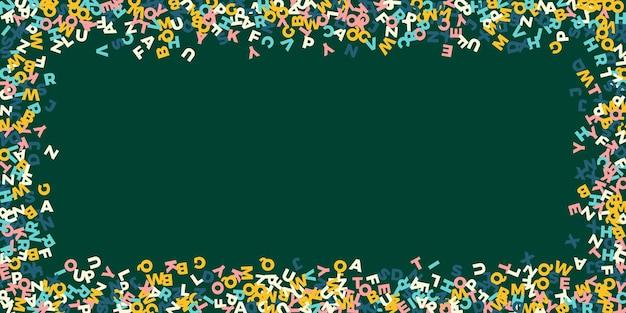 Chute des lettres de la langue anglaise. pastel volant mots de l'alphabet latin. concept d'étude des langues étrangères. belle bannière de retour à l'école sur fond de tableau noir.