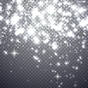 Chute de neige brillante de noël. illustration isolée sur un fond transparent. concept graphique pour votre conception