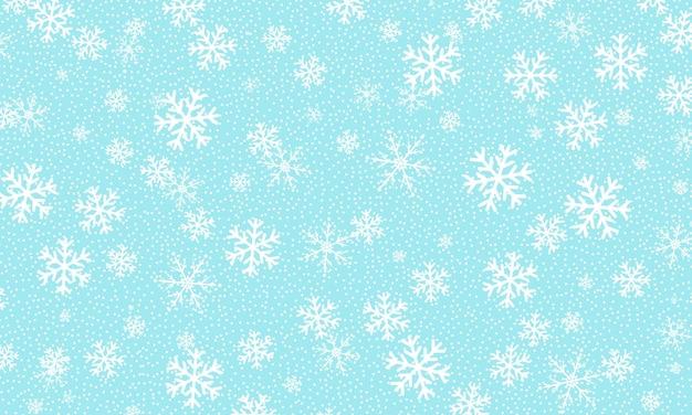 Chute de neige. illustration vectorielle. flocons de neige blancs. ciel bleu d'hiver. texture de noël. fond de chute de neige.