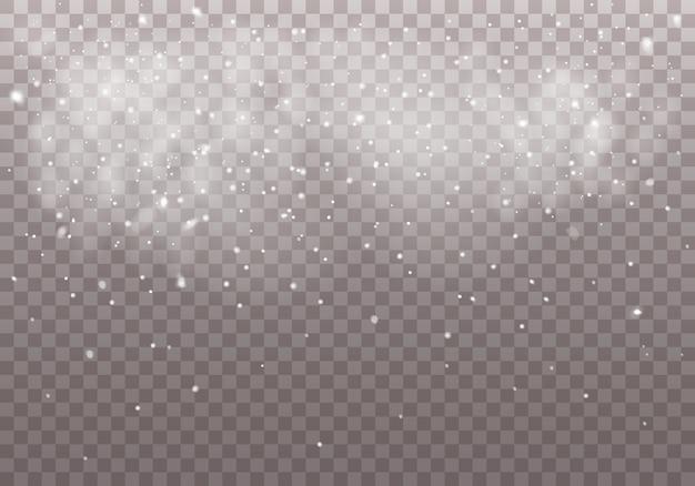 Chute de neige de noël sur transparent