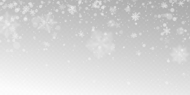 Chute de neige réaliste avec des flocons de neige blancs, effet de lumière.