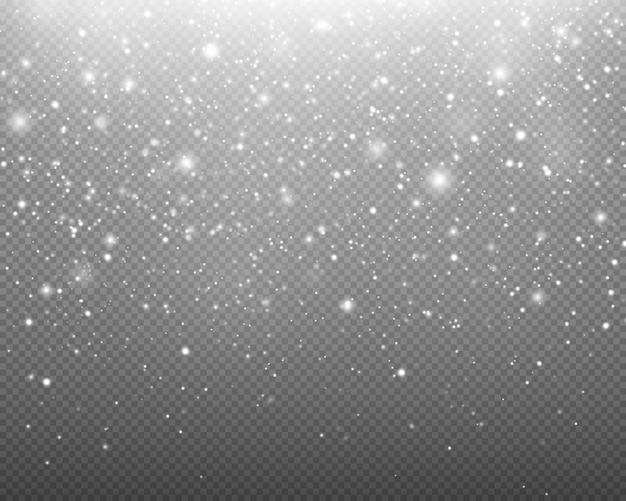 Chute de neige réaliste sur fond transparent flocons de neige neige de noël réaliste.