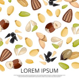 Chute des noix et des graines sur la conception de fond blanc