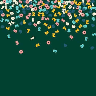 Chute de nombres pastels. concept d'étude de mathématiques avec des chiffres volants. jolie bannière de mathématiques de retour à l'école sur fond de tableau noir. chiffres en baisse illustration vectorielle.