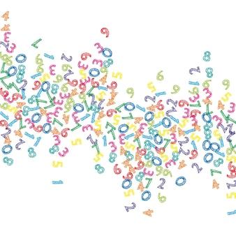 Chute de numéros de croquis colorés. concept d'étude de mathématiques avec des chiffres volants. bannière de mathématiques de retour à l'école pittoresque sur fond blanc. chiffres en baisse illustration vectorielle.