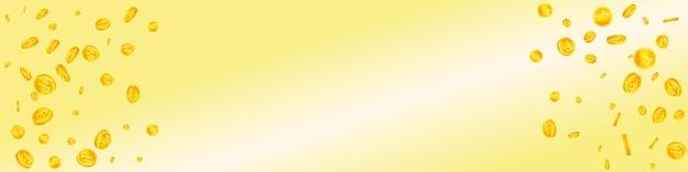 Chute des pièces en francs suisses. des pièces de chf éparses envoûtantes. l'argent de la suisse. concept réel de jackpot, de richesse ou de réussite. illustration vectorielle.
