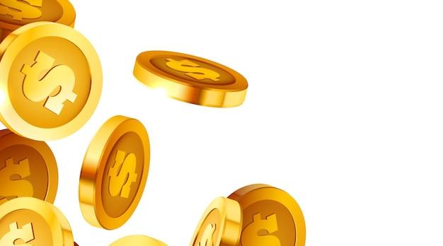 Chute de pièces de monnaie tombant de l'argent volant des pièces d'or jackpot pluie d'or ou fond moderne concept succès