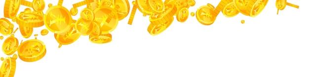 Chute des pièces de monnaie en yuan chinois. bizarre pièces de monnaie cny dispersées. l'argent de la chine. concept rare de jackpot, de richesse ou de réussite. illustration vectorielle.