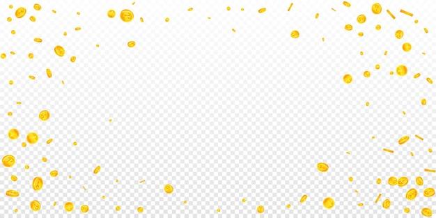 Chute des pièces de monnaie en yuan chinois. pièces magnétiques cny dispersées. l'argent de la chine. concept de jackpot, de richesse ou de réussite équitable. illustration vectorielle.
