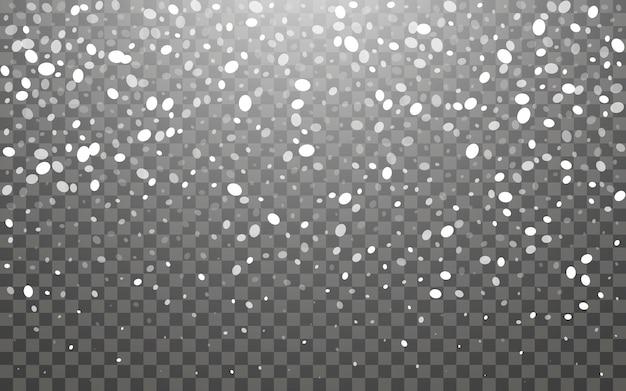 Chutes de neige et flocons de neige tombant sur fond transparent foncé. flocons de neige blancs et neige de noël. illustration vectorielle