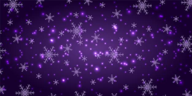 Chutes de neige sur fond violet. fond tendance flocons de neige d'hiver.