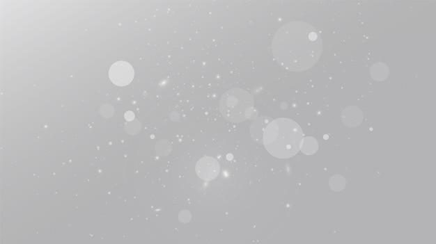 Chutes de neige sur gris, vecteur. temps de noël. fond effet de lumière brillante