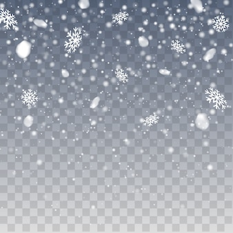 Chutes de neige d'hiver. flocons de neige tombant réalistes. vector fortes chutes de neige, flocons de neige de différentes formes