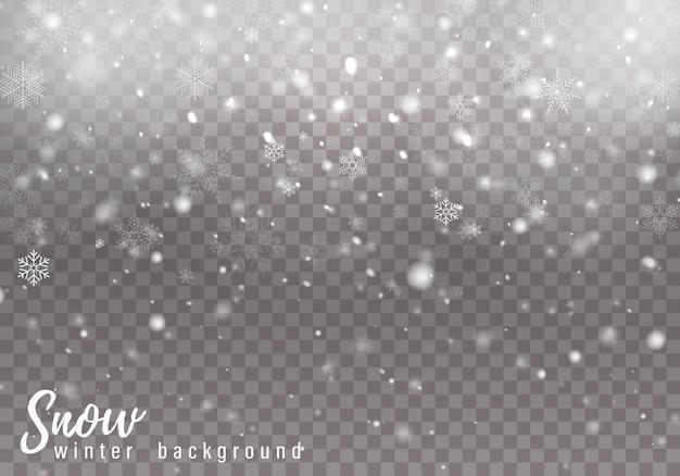 Chutes de neige de noël, flocons de neige, fortes chutes de neige.