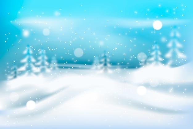 Chutes de neige réalistes floues dans la nature