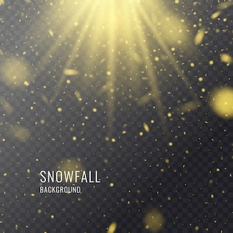 Chutes de neige réalistes de vecteur sur un fond sombre. éléments transparents pour les cartes d'hiver et l'affiche.