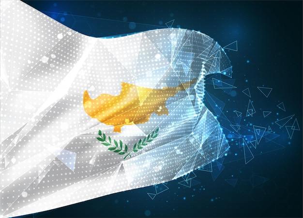 Chypre, drapeau vectoriel, objet 3d abstrait virtuel à partir de polygones triangulaires sur fond bleu