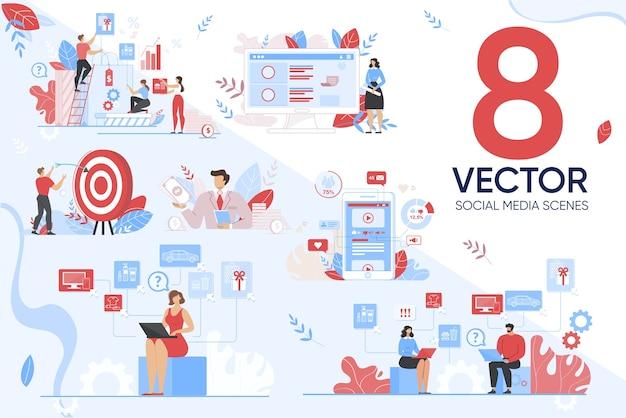 Ciblage Marketing Dans Un Ensemble De Scènes De Médias Sociaux Vecteur Premium