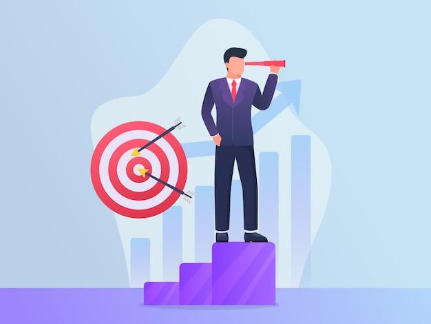 Cible commerciale avec objectif de l'homme d'affaires et concept visionnaire