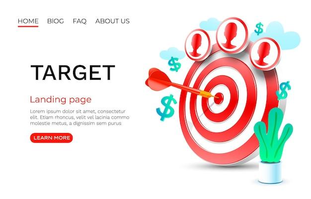 Cible finance page de destination bannière entreprise d icône vecteur