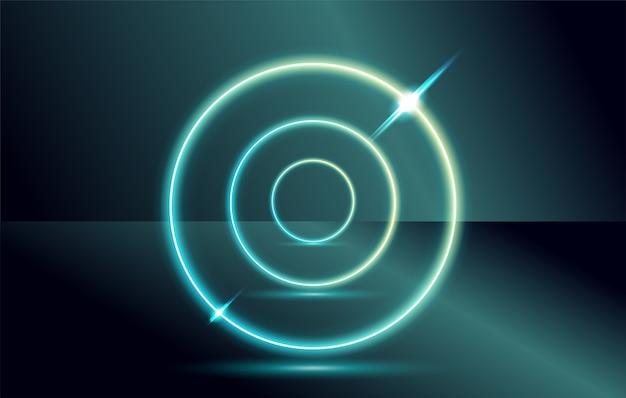 Cible futuriste ou portail avec une lueur au néon circulaire.