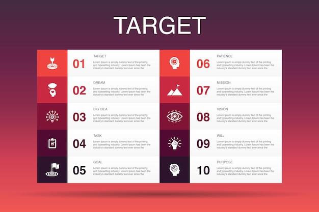 Cible infographie 10 option template.big idée, tâche, objectif, icônes simples de patience