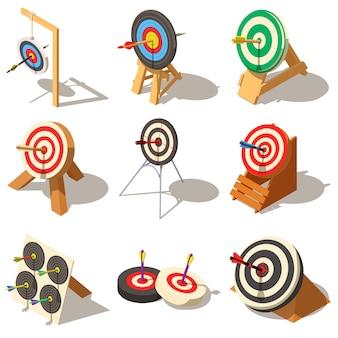 Cible avec le jeu d'icônes de flèche. illustration isométrique de 9 cibles avec des icônes vectorielles logo flèche pour le web