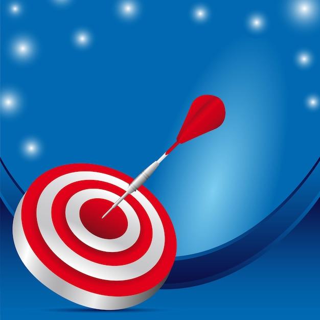 Cible rouge sur fond bleu illustration vectorielle