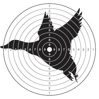 Cible avec une silhouette d'un canard volant pour tirer, plonger