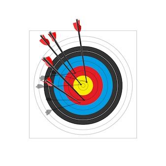 Cible de tir à l'arc avec cinq flèches.