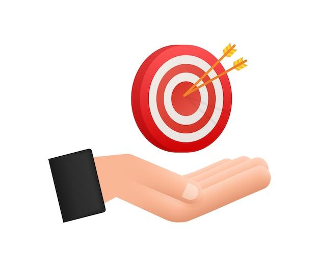 Cibler avec une flèche sur les mains icône plate concept marché objectif image image vectorielle