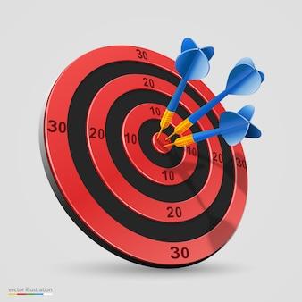 Cibler avec des fléchettes, icône 3d cible. illustration vectorielle