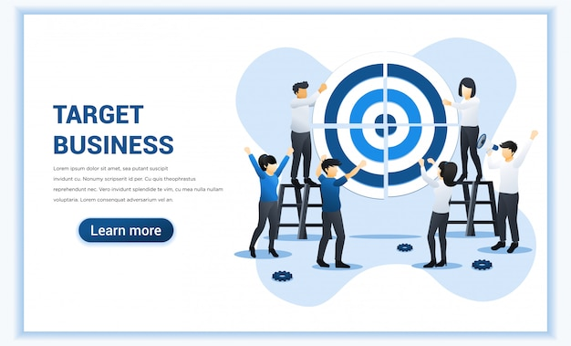 Ciblez des affaires avec des gens qui travaillent ensemble en poussant un gros objectif. réalisation des objectifs, leadership, partenariat, travail d'équipe. illustration plate
