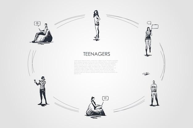 Cicle dessiné à la main des adolescents
