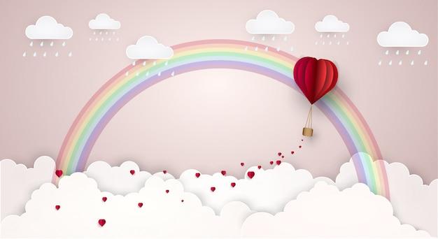 Ciel amour nuage arc en ciel. illustration vectorielle