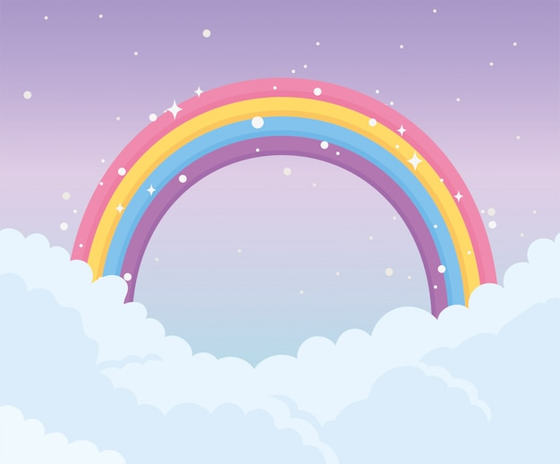 Ciel arc en ciel nuages magie rêve fantaisie