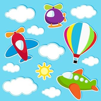Ciel avec des autocollants de transport aérien