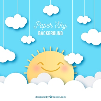 Ciel avec nuages et fond de soleil mignon en texture de papier