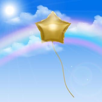 Ciel avec ballon doré en forme d'étoile