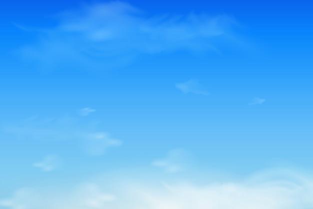 Ciel bleu doux et nuages duveteux