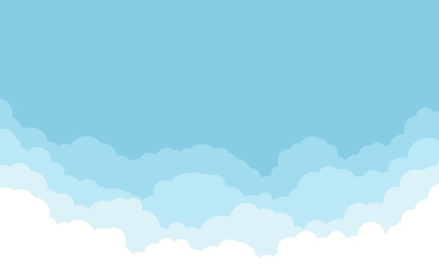 Ciel bleu avec fond de nuages blancs. conception de style plat de dessin animé.
