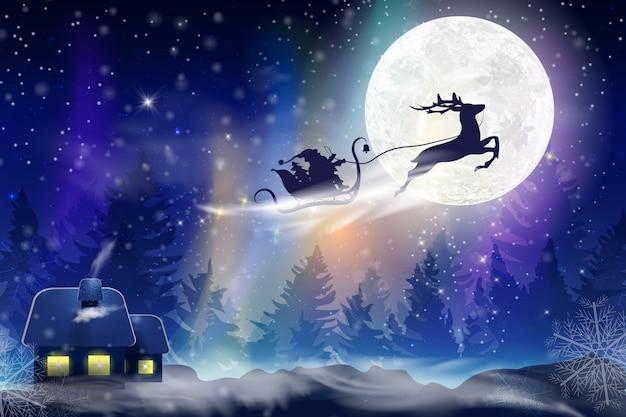 Ciel bleu d'hiver avec des chutes de neige, flocons de neige avec un paysage d'hiver avec une pleine lune. père noël volant sur un traîneau avec un cerf. fond d'hiver festif pour noël et nouvel an.