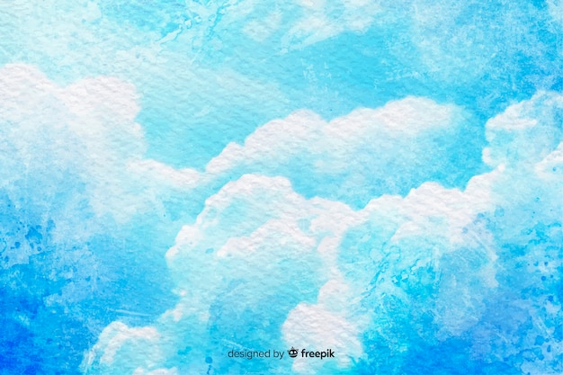 Ciel bleu avec des nuages d'aquarelle