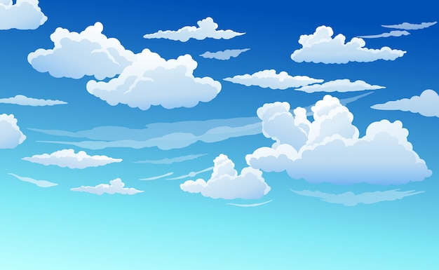 Ciel bleu avec des nuages blancs clair journée ensoleillée