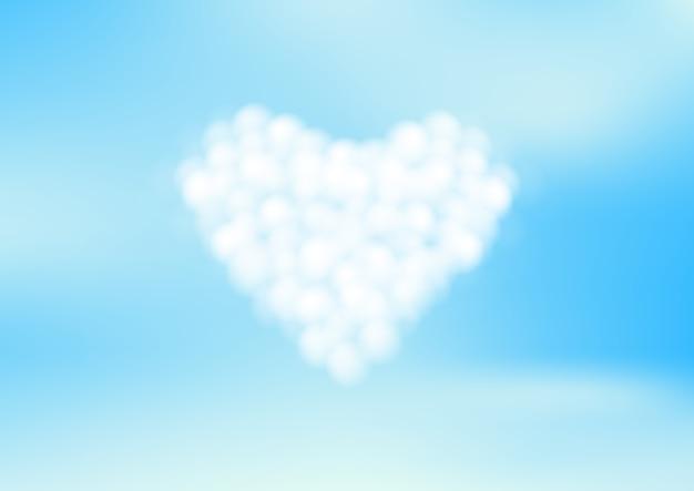 Ciel bleu avec des nuages de coeur blanc. illustration vectorielle