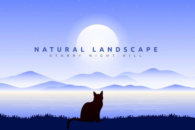 Ciel bleu paysage avec chat silhouette à la recherche de fond de l'océan