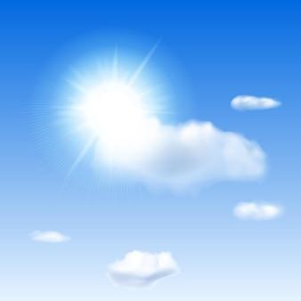 Ciel bleu, soleil, lumière parasite et nuages