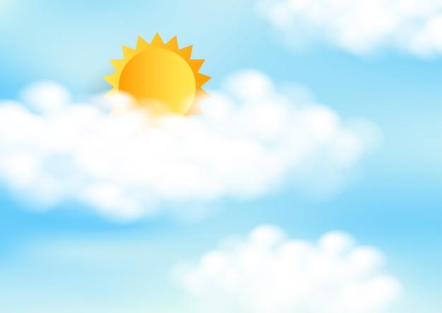 Ciel bleu avec soleil et nuages blancs