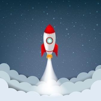 Ciel de dessin animé avec des étoiles et des nuages et des fusées